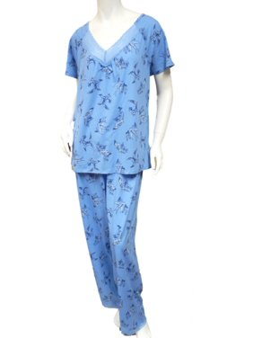 d4fcbf0a5665 Product Image Laura Scott Womens Blue Bird Pajamas Lightweight Short Sleeve  Pajama Set