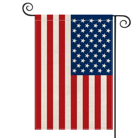 AVOIN American US Flag Garden Flag Vertical Double Sided, Patriotic Flag of the United States Stars and Stripes Old Glory Burlap Yard Outdoor Decoration 12.5 x 18 Inch