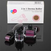 3 in 1 Derma roller Micro Needles Titanium Microneedle Needle Skin Beauty Care Face Massage Tool Roller Set, Home Use, (180-0.5mm 600-1mm 1200-1.5mm)