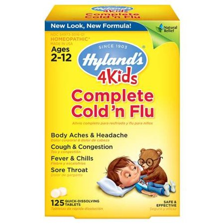 Hyland's - 4 Kids Cold 'n Flu Quick Dissolving tab 125 229994 3 PACK (Silver Cold Tab)