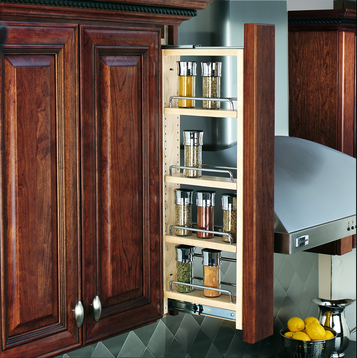 "Rev-A-Shelf 432-WF-3C 3"" Wall Filler Pull-Out with Adjustable Shelves, Natural"