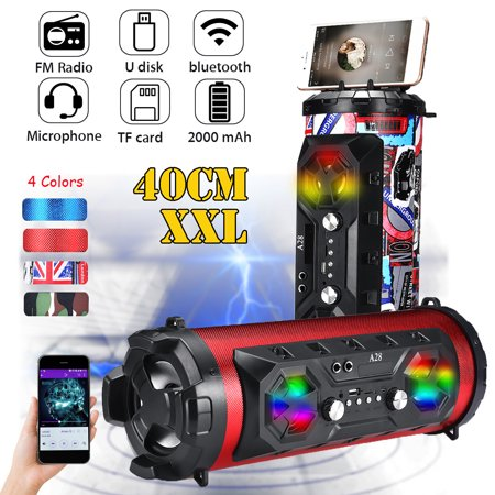 Outdoor Portable Colorful LED Wireless bluetooth Speaker Stereo Super Bass Subwoofer Loudspeaker AUX USB FM