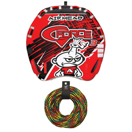 AIRHEAD AHGF-3 G-Force 3 Triple Rider Inflatable Towable Tube w/ 60' Tow