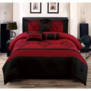 Heba Queen Size 7-Piece Cotton Touch Comforter Set Red & Black Bed in a Bag Over-Sized Embroidered Bedding