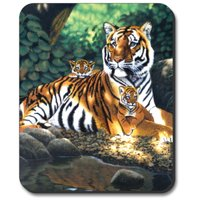 Art Plates Mouse Pad - Tiger and Cubs