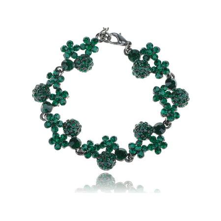 Cute Fashion Green Crystal Rhinestone Gem Jewel Flower Cluster Fashion Bracelet