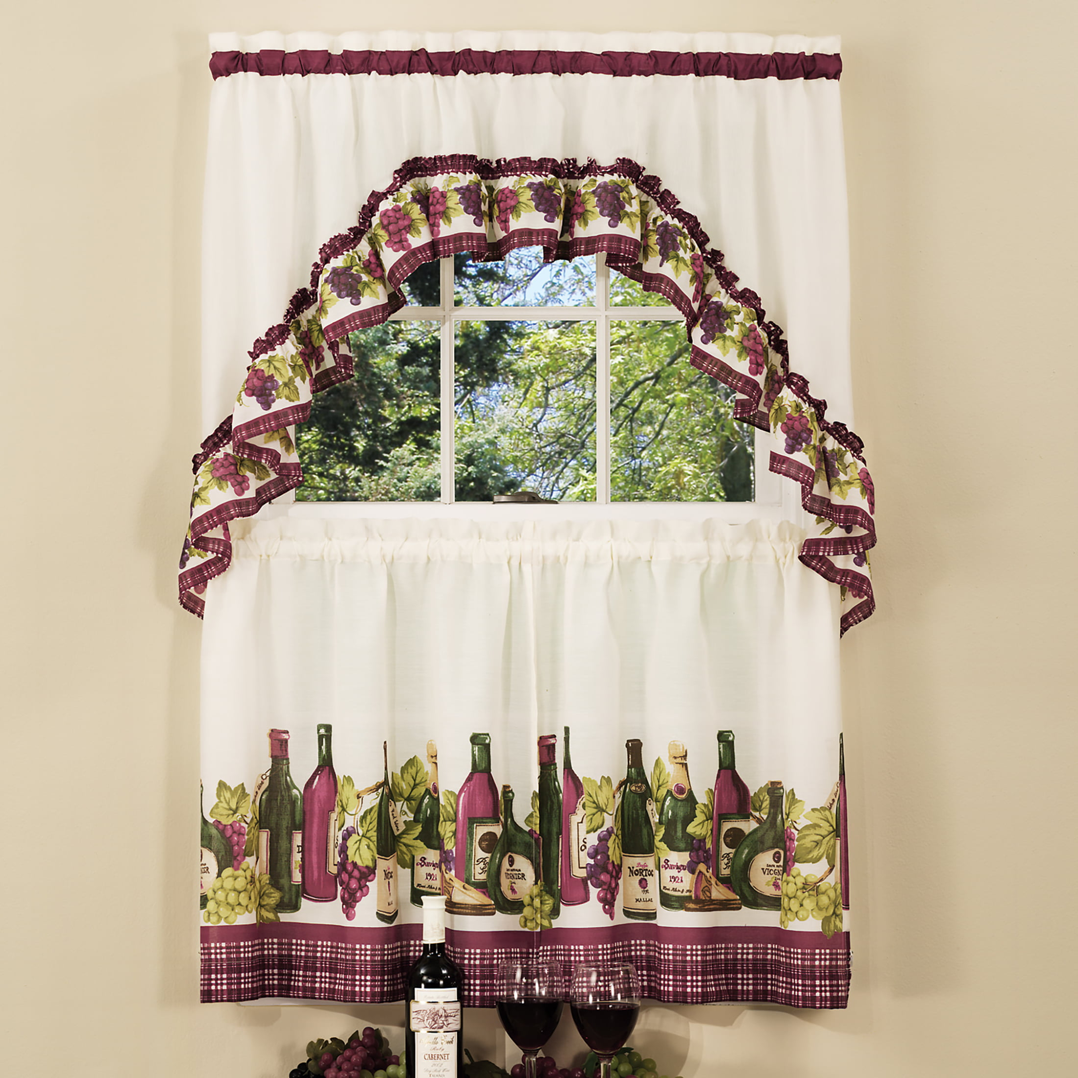 Powersellerusa 3 Piece Kitchen Curtain Set Wine Cheese Kitchen Cafe Curtain With Swag And Tier Panel Set Perfect Window Treatment For Living Room Bedroom And Kitchen Walmart Com Walmart Com