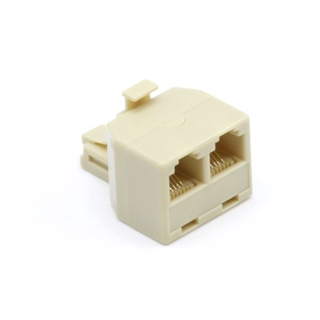THE CIMPLE CO Duplex Jack Phone Wall Adapter by Wall Jack Phone RJ11 Adapter | 4 Conductor Connector – (Ivory)