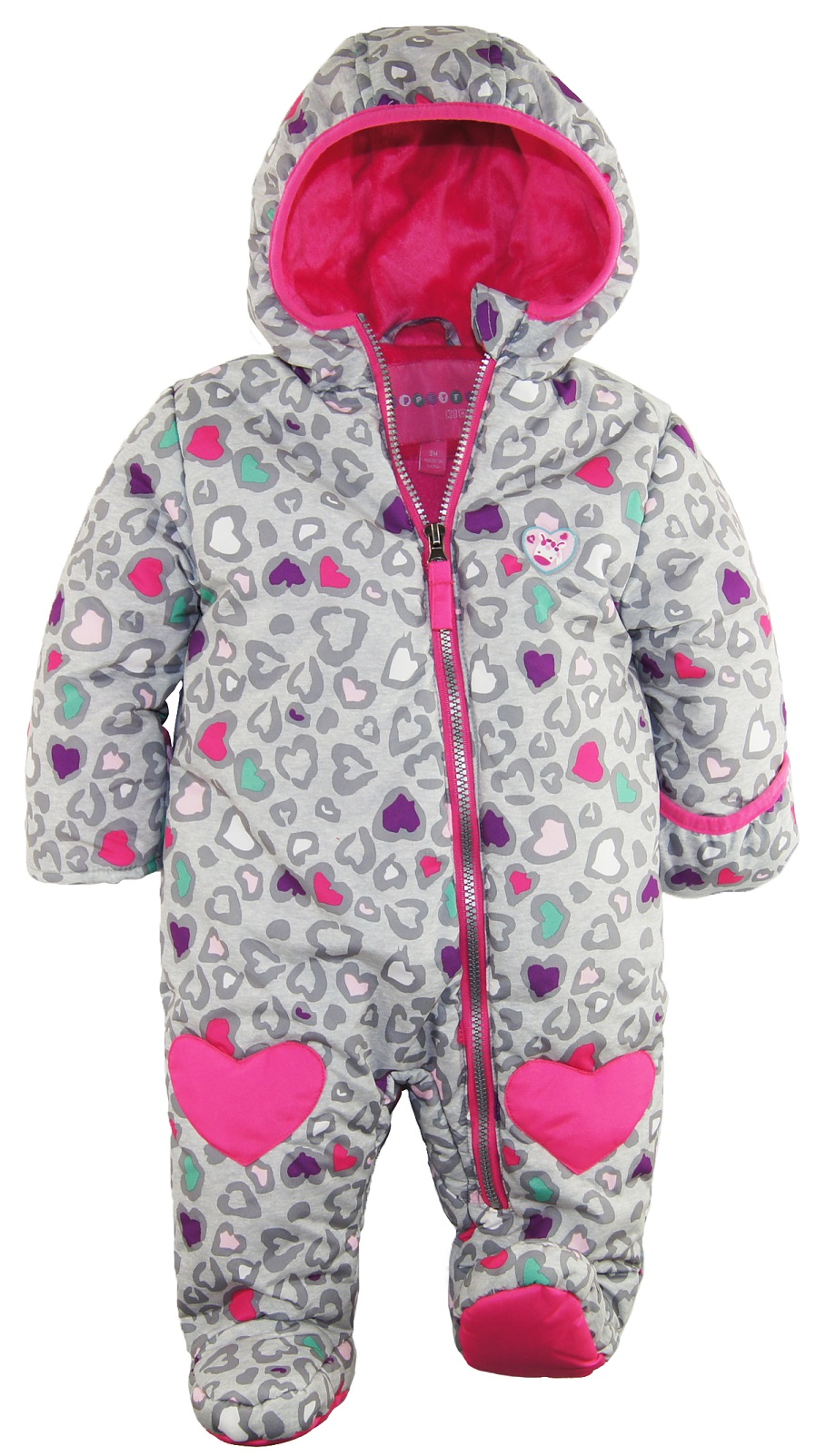 dda37ca11 WIPPETTE KIDS - Wippette Baby Girls' Giraffe Hearts Microfiber Footed One  Piece Snowsuit Pram - Walmart.com