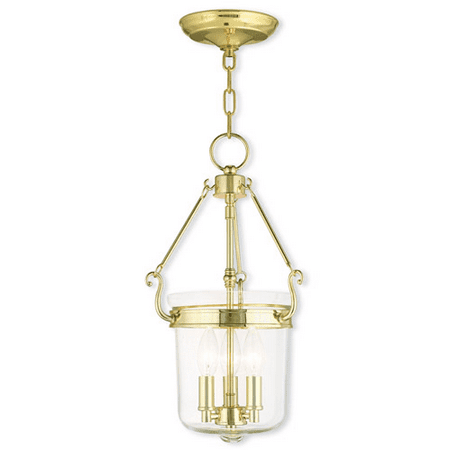 Pendants Porch 3 Light With Hand Crafted Clear Glass Polished Brass size 11 in 180 Watts - World of Crystal