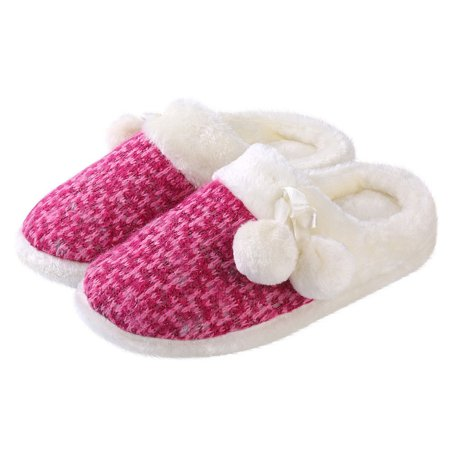 Women's Fluffy, Cozy Pom-Pom Soft Plush Slippers with No-Slip Rubber Sole For Indoor, Outdoor, Spa Use (Fuschia)](Fluffy Slipers)