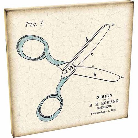 Vintage Scissor Patent Drawing Texture Contemporary Modern Trendy Painting Tan & Blue Canvas Art by Pied Piper Creative