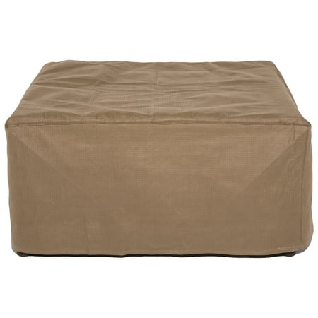 "Duck Covers Essential Rectangular Cover for Ottoman or Side Table - Water Resistant Outdoor Furniture Cover, 32""L x 25""W x 18""H, Latte"