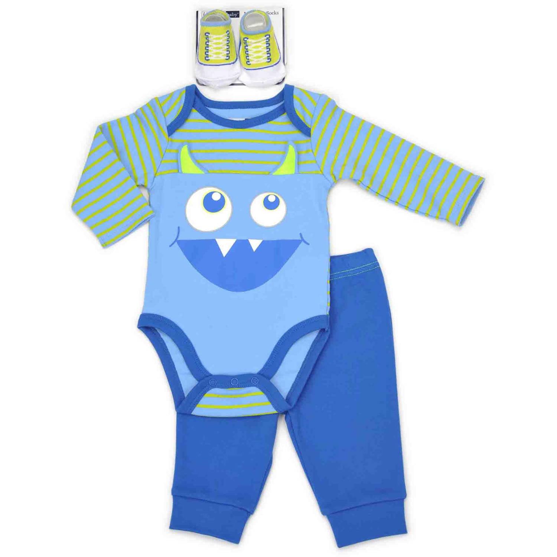 Vitamins Newborn Baby Boy Long Sleeve Bodysuit, Pant and Socks 3pc Set