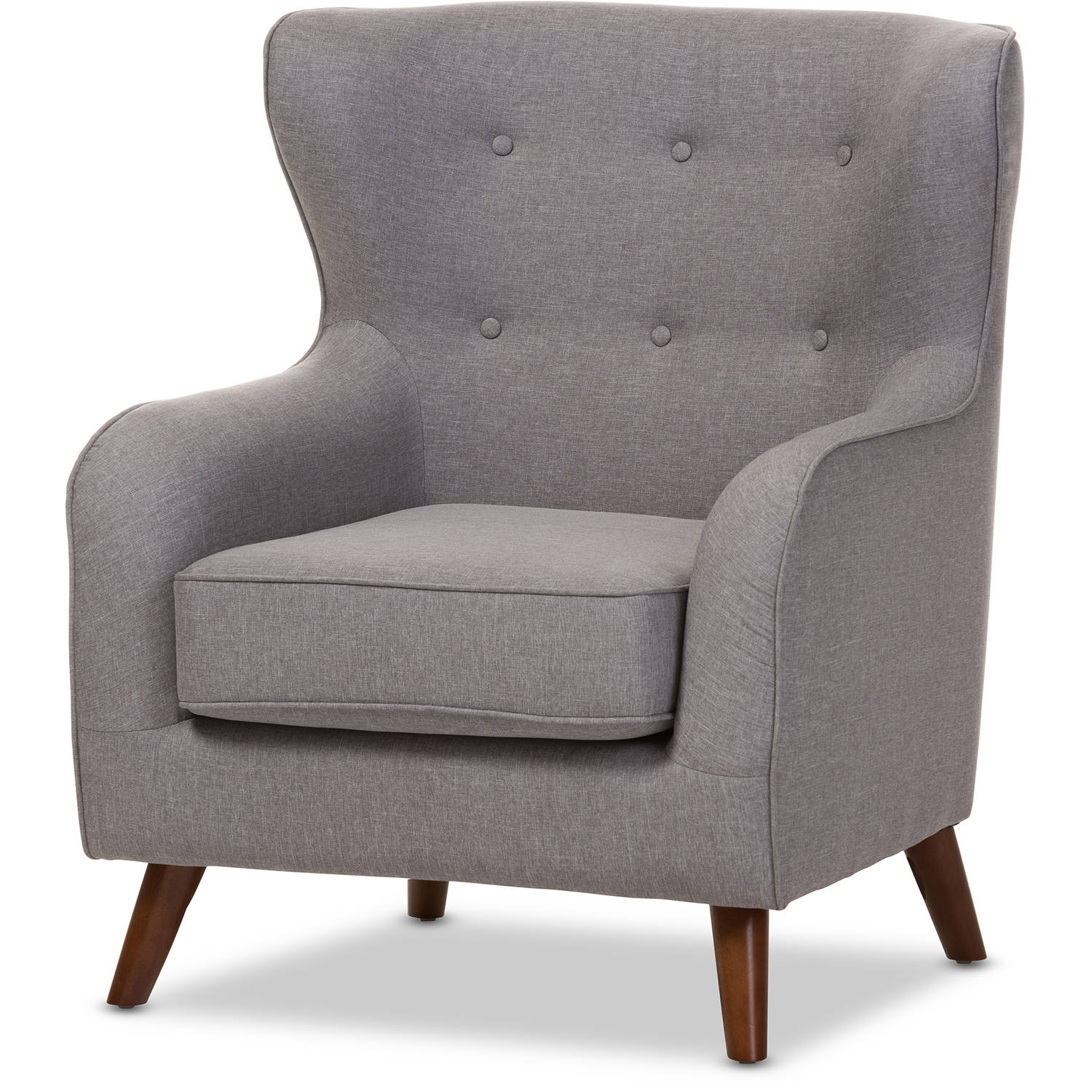 Baxton Studio Ludwig Mid-Century Modern Light Gray Fabric Upholstered Walnut Wood Button-Tufted Armchair by