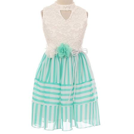 Little Girls Sleeveless Lace Bodice Stripe Chiffon Easter Flower Girl Dress USA Mint 4 (2J1K1S1)