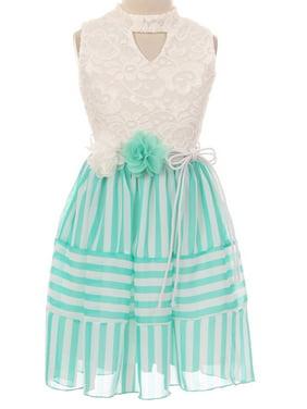 ff091a7c24f Product Image Little Girls Sleeveless Lace Bodice Stripe Chiffon Easter  Flower Girl Dress USA Mint 4 (2J1K1S1