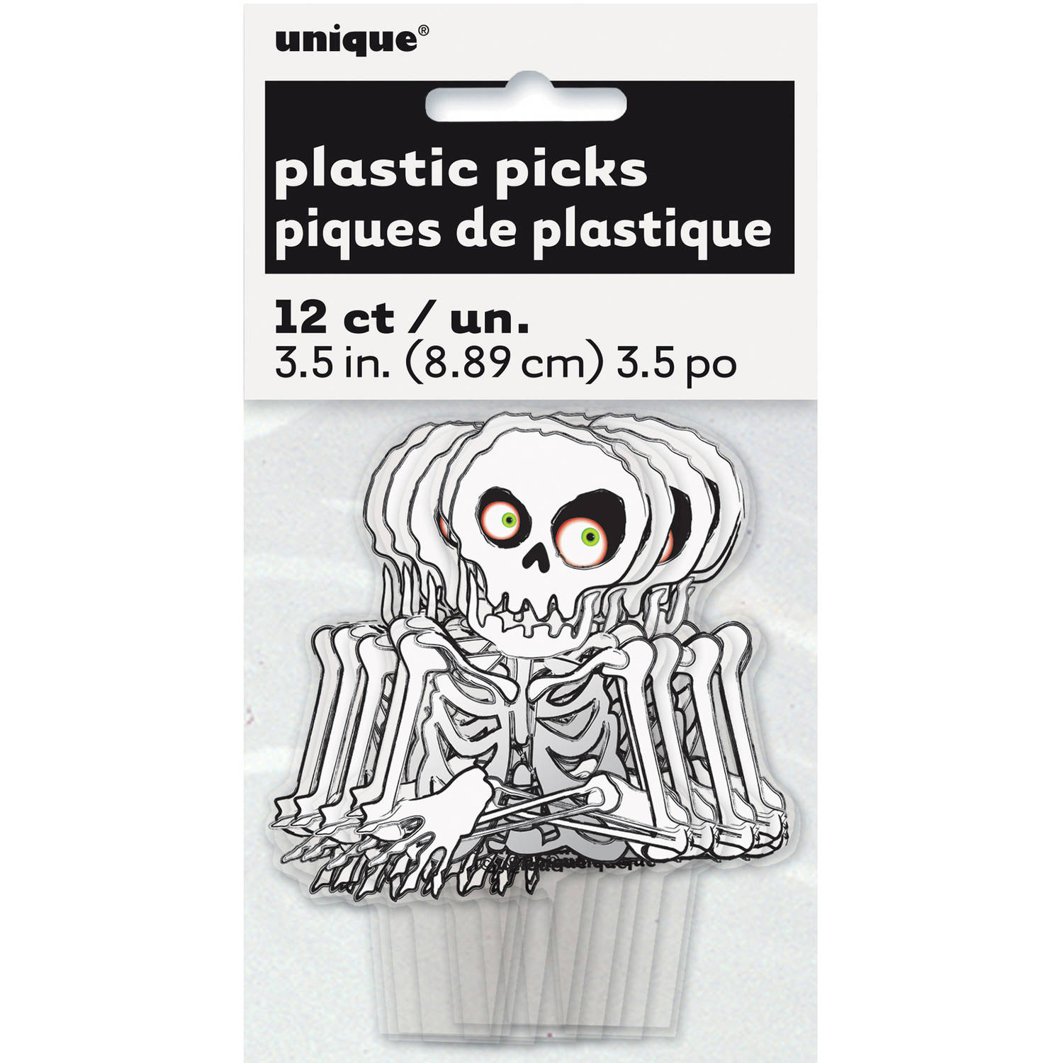 Plastic Skeleton Halloween Cupcake Toppers, 12-Count