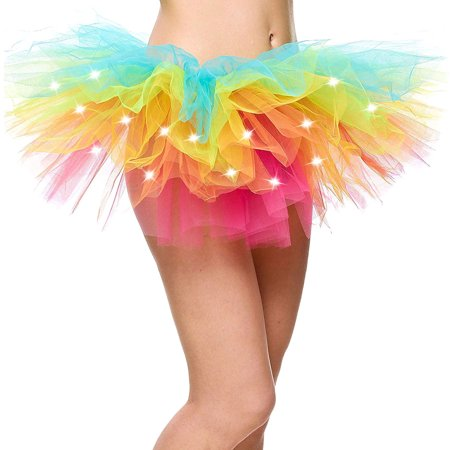 Women's Classic Fancy 5 Layered LED Light Up Tutu Party Skirt, - Party City Rainbow Tutu