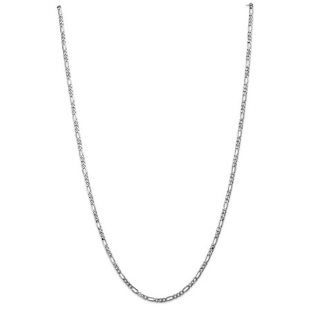 14k WG 3.0mm Flat Figaro Chain 14k White Gold Four Stone