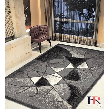 - Modern Contemporary Area Rugs-Abstract with Wavy Swirls -Shed Free Black/White/Gray/Ivory