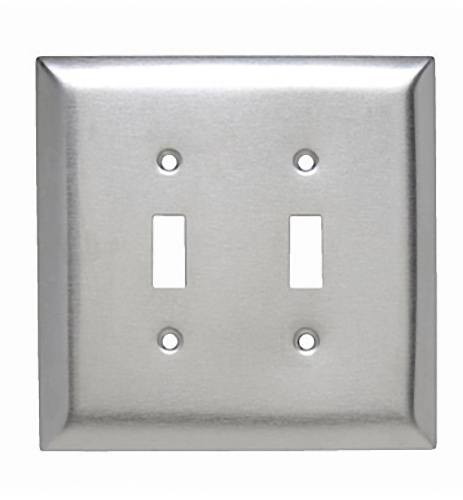 P&S Oversize 2-Gang Metal 302 Stainless Steel Jumbo Toggle Switch Wallplate SSO2