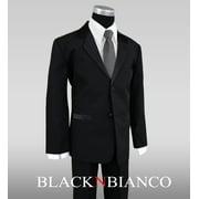 Boys Tuxedo in Black Dresswear with Dark Grey Neck Tie