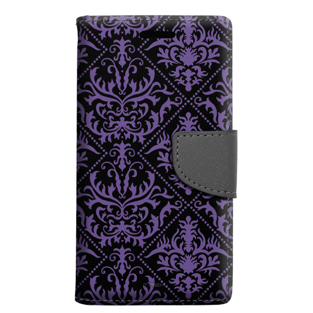 Alcatel Pop 4 Wallet Case - Damask Stunning Purple on Black Case