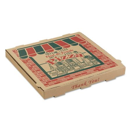 ARVCO Corrugated Pizza Boxes, 14 x 14 x 1 3/4, Kraft, 50/Carton - Kraft Boxes