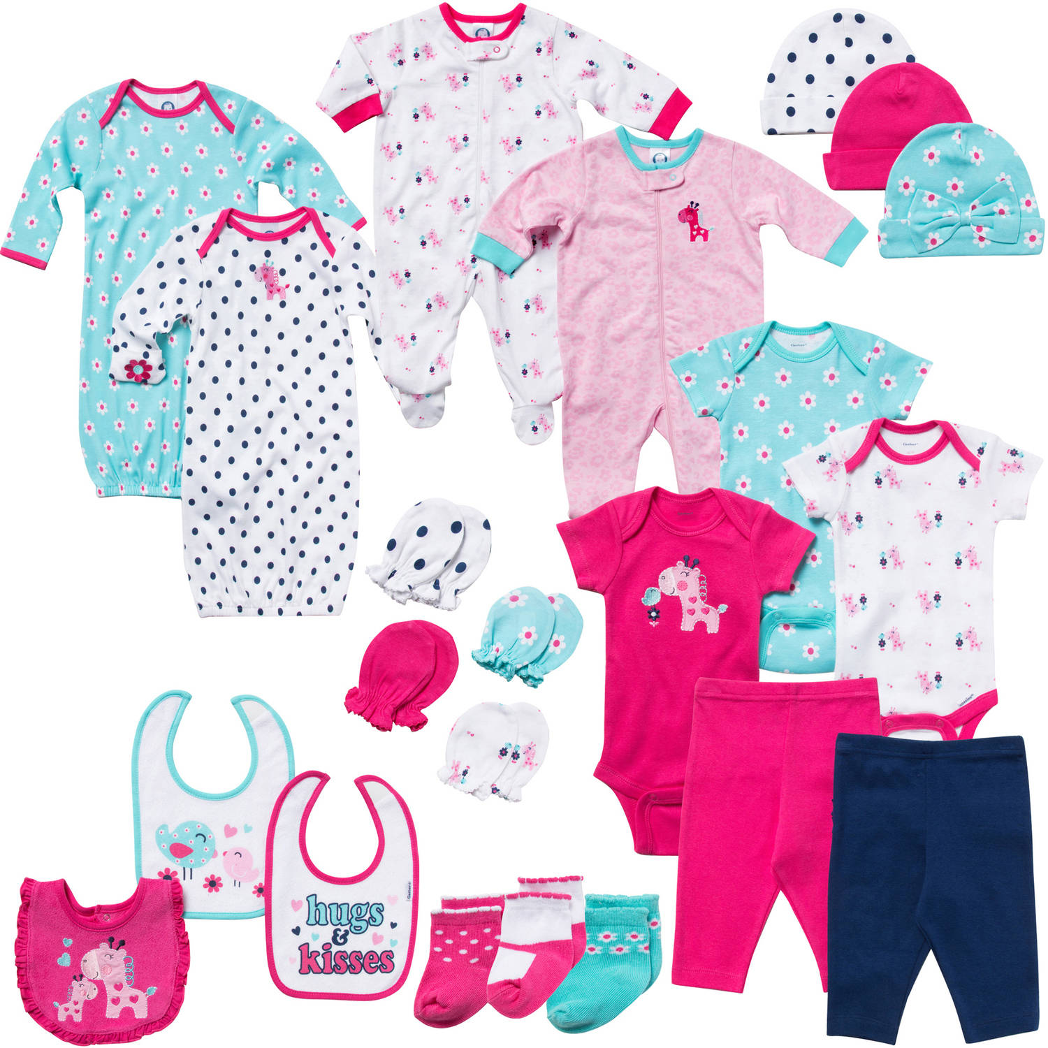 Gerber Newborn Baby Girl 22-Piece Perfect Baby Shower Gift Layette Set Size 0-3M, Fuschia