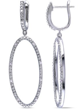 e609d73450fb2f Product Image Miabella Diamond-Accent Sterling Silver Oval Drop Earrings