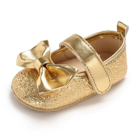 Newborn Baby Girls Shoes PU Leather Soft Sole Non-Slip Prewalker Bowkont Princess Shoes Mary Jane Shoes Golden 13cm (Girls Leather Mary Janes)