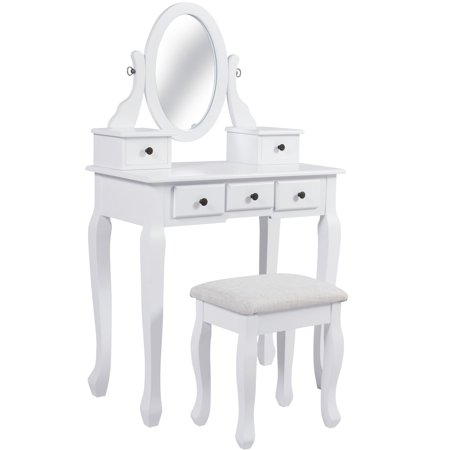 Best Choice Products Bedroom Vanity Hair Dressing Table Set for Makeup, Cosmetics, Beauty w/ Adjustable Oval Mirror, Padded Stool Seat, 5 Drawer Storage Organizers - White ()