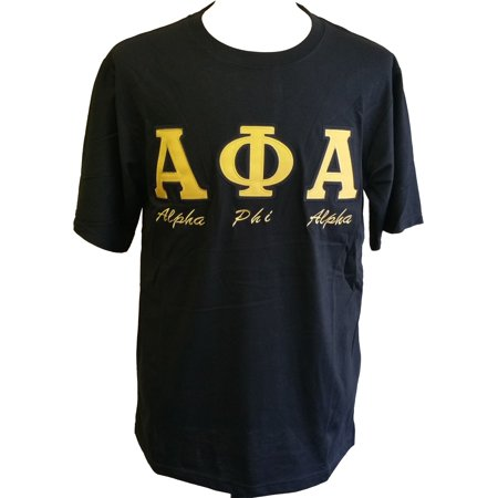 Alpha Phi Alpha Fraternity Applique Mens Tee  Short Sleeve   Black   M