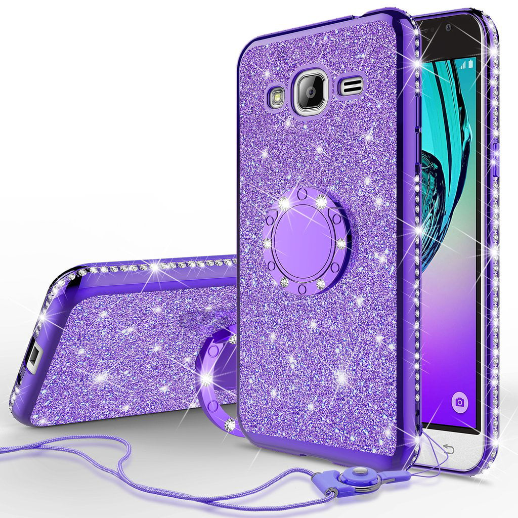 best cheap b02a2 b0956 Galaxy J3 Case, Galaxy Sky Case, J36v Case,Galaxy Express Prime,Galaxy  Sol,Galaxy Amp Prime Case Bling Diamond Rhinestone Bumper Ring Stand  Sparkly ...