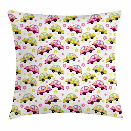 Cars Throw Pillow Cushion Cover, Hippie Vintage Cars in Pink and Green Color with Little Spring Daisies, Decorative Square Accent Pillow Case, 18 X 18 Inches, Pink Apple Green Baby Blue, by Ambesonne