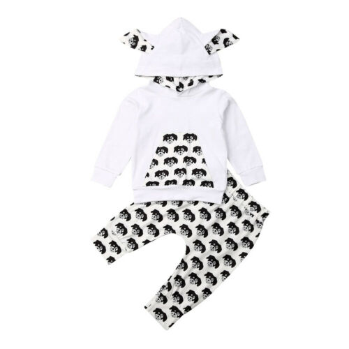 Baby Boys Girls Print Hoodies Pants 2pcs Newborn Long Sleeve Clothing Outfit Set