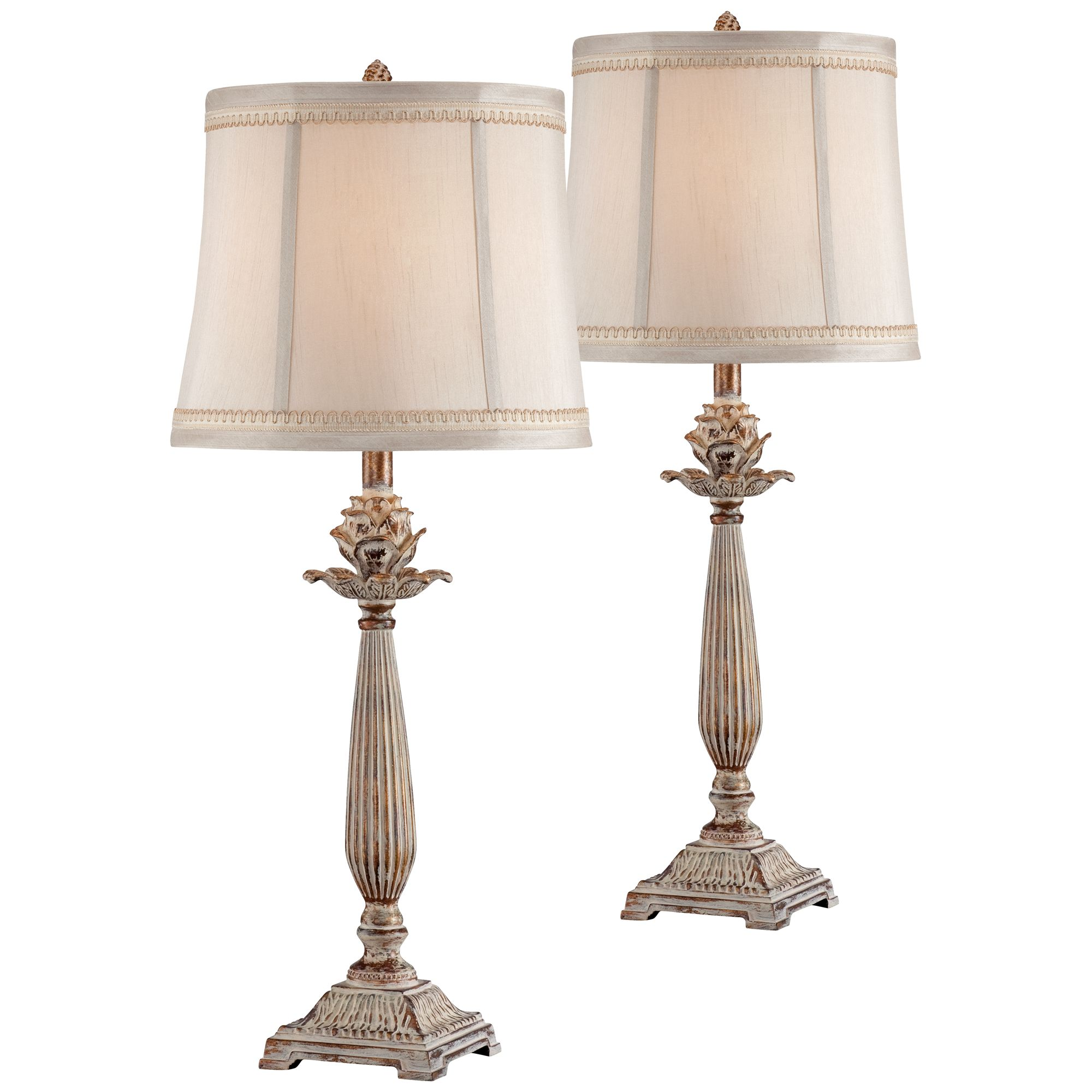 Regency Hill Chic Table Lamps Set of 2 Antique White Washed Petite Artichoke Font Beige Fabric Bell Shade for Living Room Family