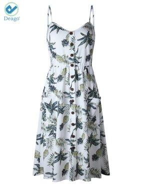 5fd00e15271 Product Image Deago Women s Dresses-Summer Floral Bohemian Spaghetti Strap  Button Down Swing Midi Dress with Pockets
