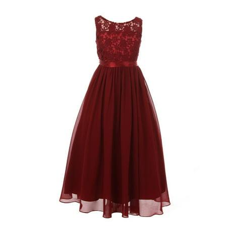 Girls Burgundy Satin Sash 3D Lace Chiffon Junior Bridesmaid Dress Chiffon Junior Bridesmaid Dresses