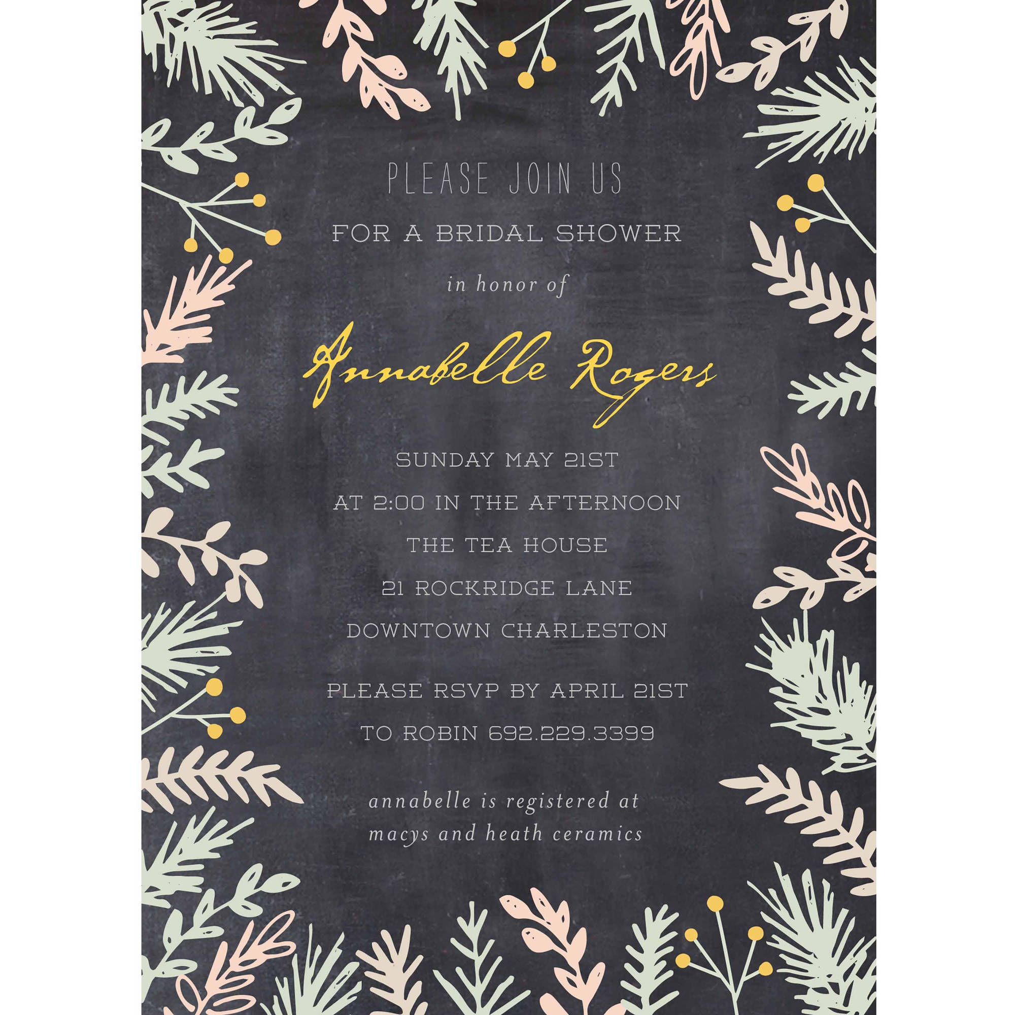 Bride Botanical Standard Bridal Shower Invitation