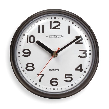 "7"" Wall Mount Round Analog Quartz Clock, Black - 6NN64"