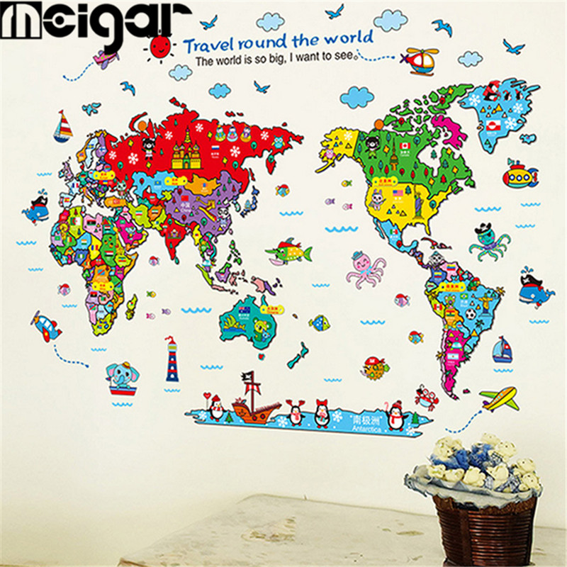 Colorful art Animal Map DIY Dance Studio Wall Stickers Removable World Map Home Decor New