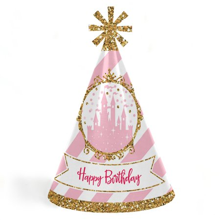 Little Princess Crown - Cone Happy Birthday Party Hats for Kids and Adults - Set of 8 (Standard (Princess Party Cone Hats)