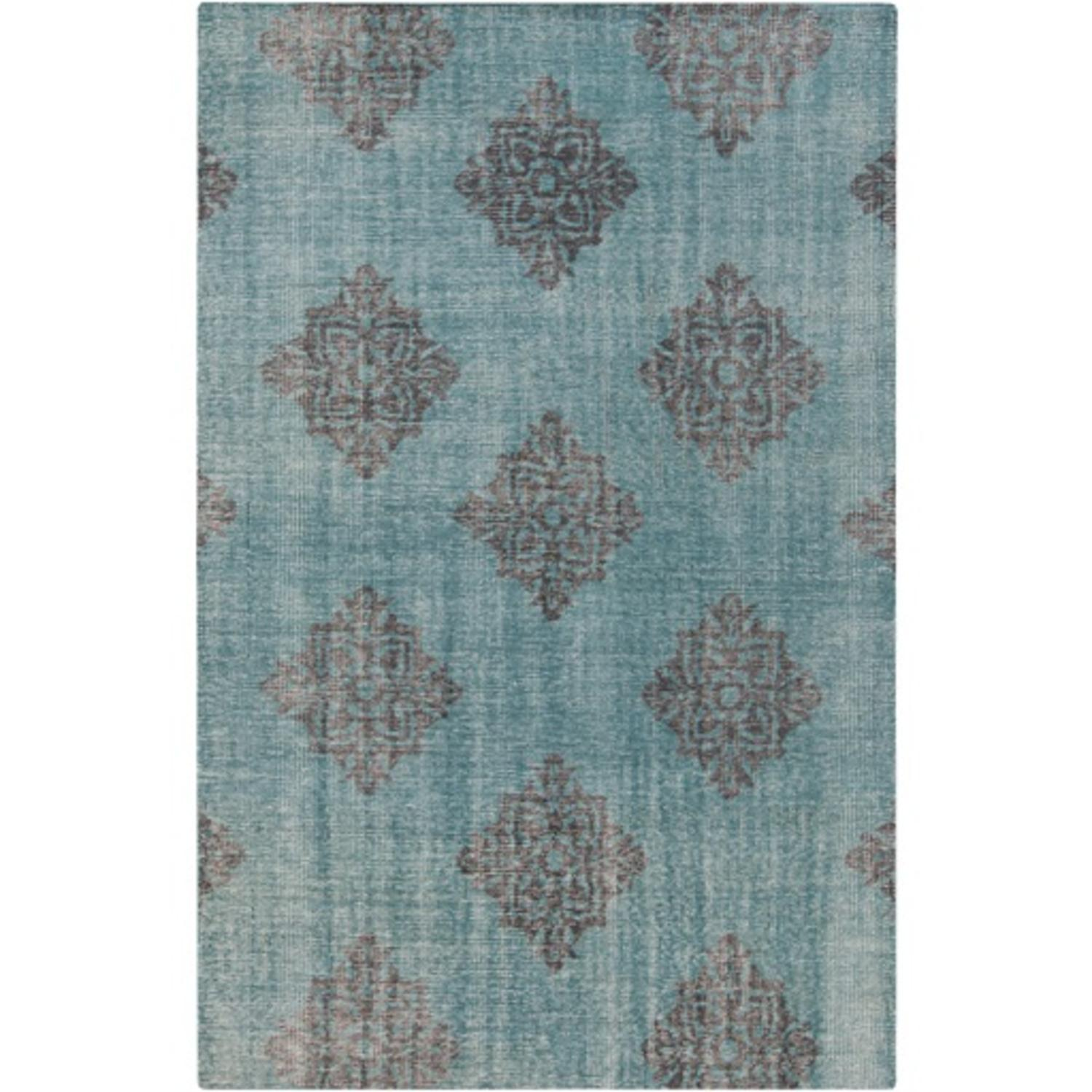 8' x 11' Visual Paragon Teal Blue and Midnight Black Wool Area Rug