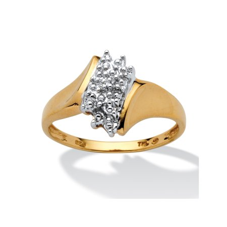 Sterling Silver Single Cluster Ring - Pave Diamond Accent Cluster Ring in 18k Gold over Sterling Silver
