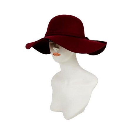 be12dd4ebc5 Cap Zone - Soft Felt Floppy Hat Monochromatic Band with Small Ribbon ...