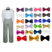 3PC Shirt Gray Pants Bow tie Set Baby Boy Toddler Kid Formal Suit Sm-7
