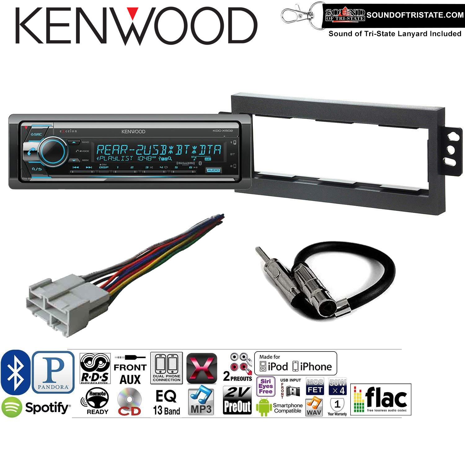 Kenwood KDCX502 Double Din Radio Install Kit with Bluetooth, CD Player, USB/AUX Fits 1994-1996 Chevrolet Impala, 1997-2000 Chevrolet Malibu and a SOTS lanyard included