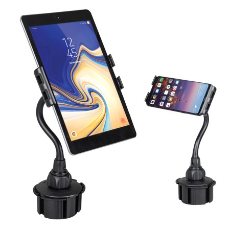 EEEKit 2-in-1 Tablet & Smartphone Car Cup Holder Mount with Flexible Neck for Apple iPad Pro 10.5, Air, Mini, Samsung Galaxy Tab, iPhone 11/11 Pro Xs XS Max XR X 8 8 Plus &